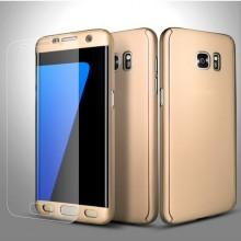 Husa Samsung Galaxy S6 Edge, FullBody Elegance Luxury Gold, acoperire completa 360 grade cu folie de protectie gratis