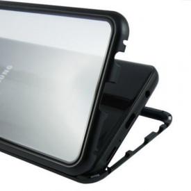 Husa Samsung Galaxy S9 Magnetica 360 grade Black, Perfect Fit cu spate de sticla securizata premium + folie de sticla pentru ecran