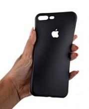 Pachet husa Elegance Luxury Black antisoc cu decupaj logo pentru Apple iPhone 6 Plus / Apple iPhone 6S Plus cu folie de sticla gratis