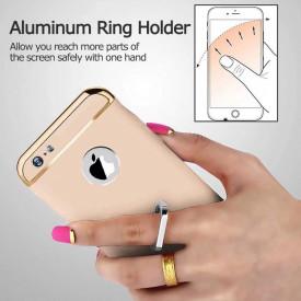 Pachet husa Elegance Luxury Gold 3in1 Ultrasubtire cu inel pentru Apple iPhone 7 cu folie de protectie gratis