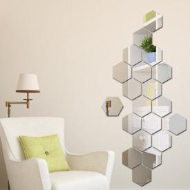 Set Oglinzi Design Hexagon Silver - Oglinzi Decorative Acrilice Cristal - Diamant - MyStyle Luxury Home 24 bucati/set