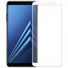 Folie de sticla pentru Samsung Galaxy A8 2018 cu margini colorate Alb