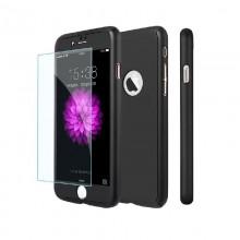 Husa Apple iPhone 8, FullBody Elegance Luxury iPaky Black, acoperire completa 360 grade cu folie de sticla gratis