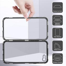 Husa Apple iPhone 8 Plus Magnetica cu spate din sticla securizata si folie privacy pentru ecran, Perfect Fit