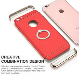 Pachet husa Elegance Luxury 3in1 Ring Red pentru Apple iPhone 7 Plus cu folie de sticla gratis