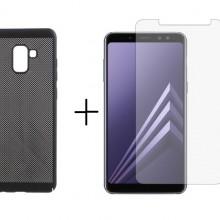 4e356b0e5e0 Pachet husa Elegance Luxury Mesh Black pentru Samsung Galaxy A8 cu folie de  protectie gratis