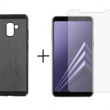 Pachet husa Elegance Luxury Mesh Black pentru Samsung Galaxy A8 cu folie de protectie gratis