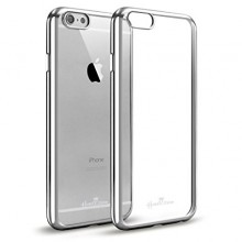 Pachet husa Elegance Luxury placata Silver pentru Apple iPhone 6 Plus / Apple iPhone 6S Plus cu folie de protectie gratis