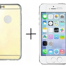 Pachet husa Elegance Luxury Tip Oglinda Gold pentru Apple Iphone 5 / Apple iPhone 5S / Apple iPhone 5SE cu folie de sticla gratis !