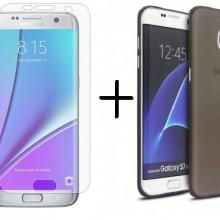 Pachet husa Elegance Luxury TPU slim fumuriu pentru Samsung Galaxy S6 cu folie de sticla gratis