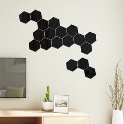 Set Oglinzi Acrilice Design Hexagon - Oglinzi Decorative XL Size Black Luxury Home 12 bucati/set