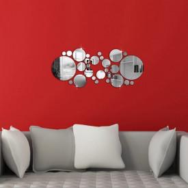 Set Oglinzi Design 3D SILVER ROUND MyStyle® - Oglinzi Decorative Acrilice Luxury Home 26 buc/set
