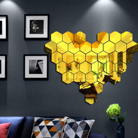 Set Oglinzi Design Hexagon Gold - Oglinzi Decorative Acrilice Cristal - Diamant - Luxury Home 24 bucati/set