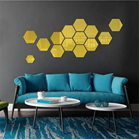 Set Oglinzi Design Hexagon Gold - Oglinzi Decorative Acrilice Cristal - Diamant - Luxury Home 10 bucati/set