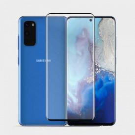 Folie de sticla pentru Samsung Galaxy S20, cu margini colorate Negru