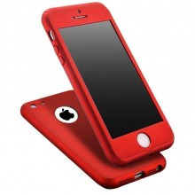 Husa Apple iPhone 5/5S/SE, FullBody Red, acoperire completa 360 grade cu folie de sticla gratis