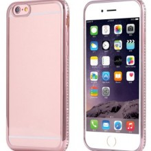 Husa Apple iPhone 6/6S, electroplacata cu diamante Rose-Gold