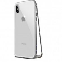 Husa Apple iPhone 7, Magnetica 360 grade Argintiu, Perfect Fit cu spate de sticla securizata premium + folie de sticla pentru ecran gratis