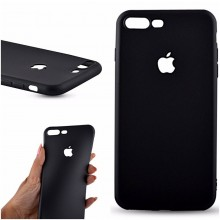 Husa Apple iPhone 7 Plus, Black antisoc cu decupaj logo