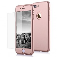 Husa Apple iPhone 7 Plus, FullBody Elegance Luxury Rose-Gold, acoperire completa 360 grade cu folie de sticla gratis