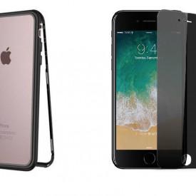 Husa Apple iPhone 7 Plus Magnetica cu spate din sticla securizata si folie privacy pentru ecran, Perfect Fit