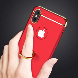 Husa Apple iPhone X, Elegance Luxury 3in1 Ring Rosu