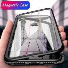 Husa Apple iPhone X, Magnetica Negru, Perfect Fit cu spate de sticla securizata premium