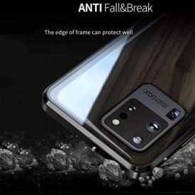 Husa Samsung Galaxy S20 Ultra , Magnetica 360 Negru, Perfect Fit cu spate de sticla securizata premium + folie de sticla pentru ecran