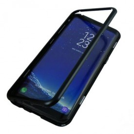 Husa Samsung Galaxy S8 Plus Magnetica 360 grade Black, Perfect Fit cu spate de sticla securizata premium + folie de protectie gratis