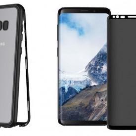 Husa Samsung Galaxy S8 Plus Magnetica cu spate din sticla securizata si folie privacy pentru ecran, Perfect Fit