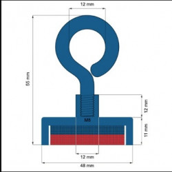 Magnet neodim oală D 48 mm cârlig inelar - Magnet pentru pescuit 65kg
