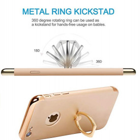 Pachet husa Elegance Luxury 3in1 Ring Gold pentru Apple iPhone 6 Plus / Apple iPhone 6S Plus cu folie de sticla gratis