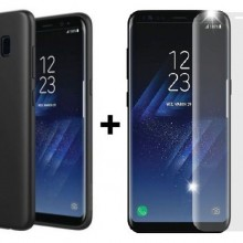 Pachet husa Elegance Luxury Slim Antisoc Black pentru Samsung Galaxy S8 cu folie de sticla Clear gratis !