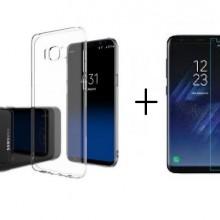 Pachet husa Elegance Luxury slim transparenta pentru Samsung Galaxy S8 cu folie de protectie gratis