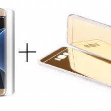 Pachet husa Elegance Luxury tip oglinda Gold pentru Samsung Galasy S6 Egde cu folie de protectie gratis