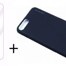 Pachet husa Elegance Luxury X-LEVEL Metalic Black pentru Apple iPhone 7 cu folie de sticla gratis