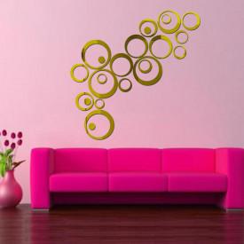 Set Oglinzi Design Modern - Oglinzi Decorative Acrilice Gold - MyStyle® Luxury Home 24 bucati/set