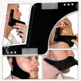 Set profesional pieptene / sablon contur barba & mustata + Brici profesional pentru barbierit si ras capilar, brici din otel inoxidabil, PRO