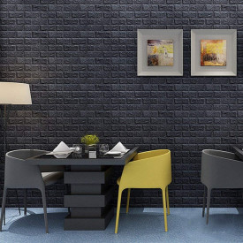 Tapet 3D Black design perete modern din caramida in relief, Autoadeziv , 77x70 cm