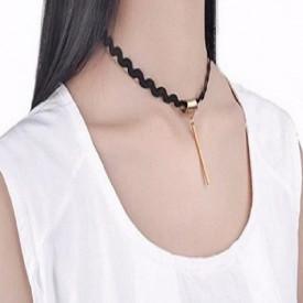 Choker Fashion Black Duble - Colier elegant pentru gat - Black Delux