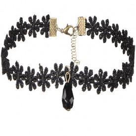 Choker Fashion Black Gothic Flower - Colier elegant pentru gat
