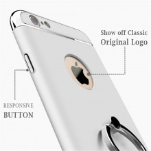 Husa Apple iPhone 6 Plus/6S Plus, Elegance Luxury 3in1 Ring Silver