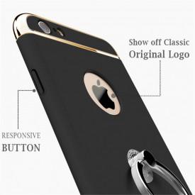 Husa Apple iPhone 7, Elegance Luxury 3in1 Ring Black