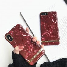 Husa Apple iPhone 7, Elegance Luxury Marble Red TPU, husa cu insertii marmura rosie-aurie