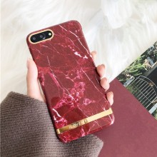 Husa Apple iPhone 7 Plus, Elegance Luxury Marble Red TPU, husa cu insertii marmura rosie-aurie