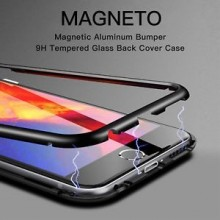 Husa Apple iPhone 7 PLUS Magnetica 360 grade Negru, Perfect FIt cu spate de sticla securizata premium