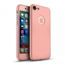 Husa Apple iPhone 8, FullBody Elegance Luxury Rose-Gold, acoperire completa 360 grade cu folie de sticla gratis