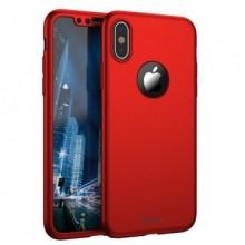 Husa Apple iPhone X, FullBody Elegance Luxury iPaky Rosu, acoperire completa 360 grade cu folie de sticla gratis