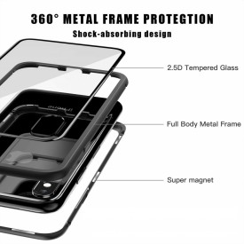 Husa Apple iPhone X, Magnetica 360 grade Argintiu, Perfect Fit cu spate de sticla securizata premium + folie de sticla gratis