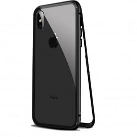Husa Apple iPhone XS MAX Magnetica 360 grade Negru, Perfect Fit cu spate de sticla securizata premium + folie de sticla pentru ecran gratis